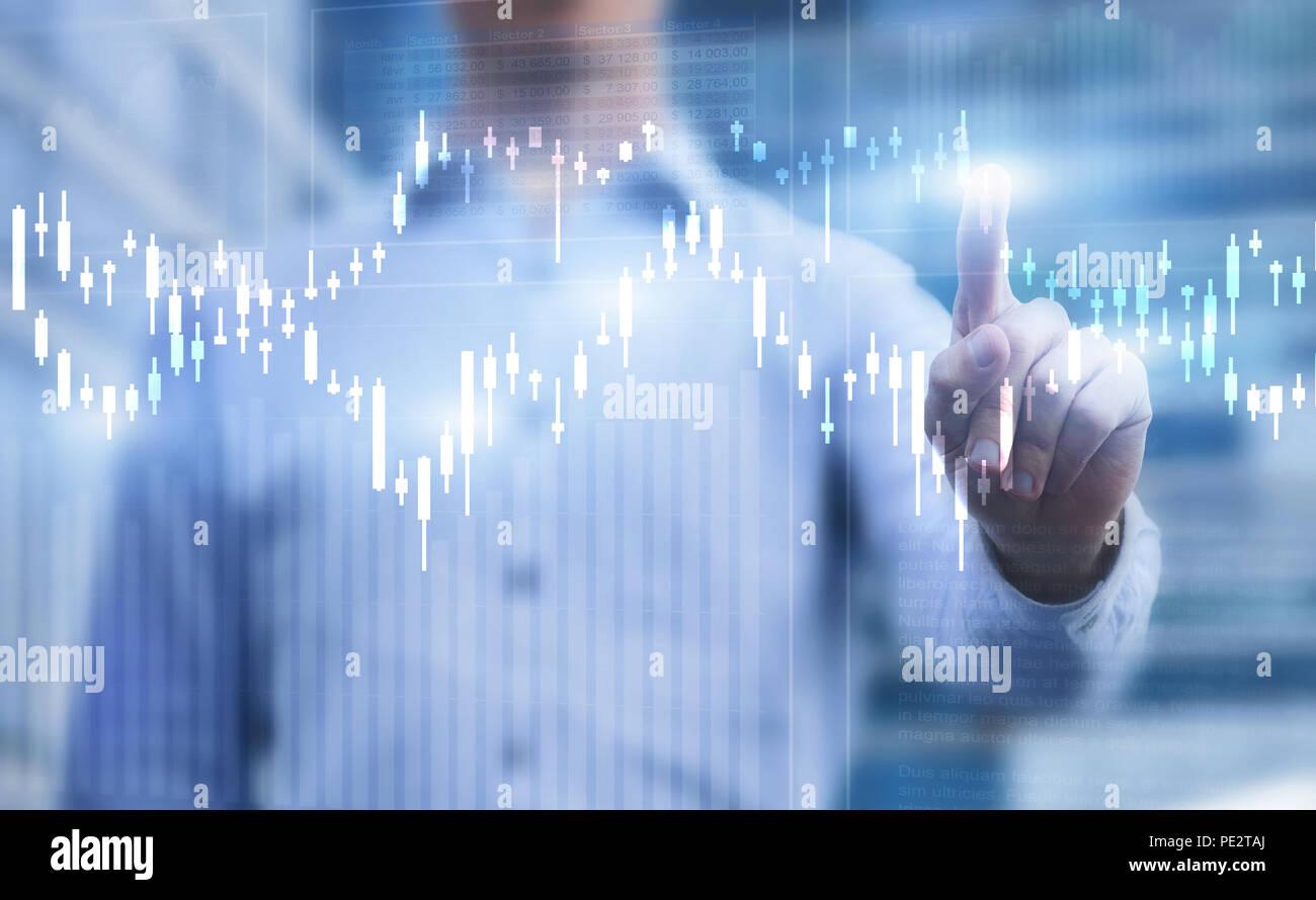 Gráficos financieros, concepto de Business Analytics. Foto de stock