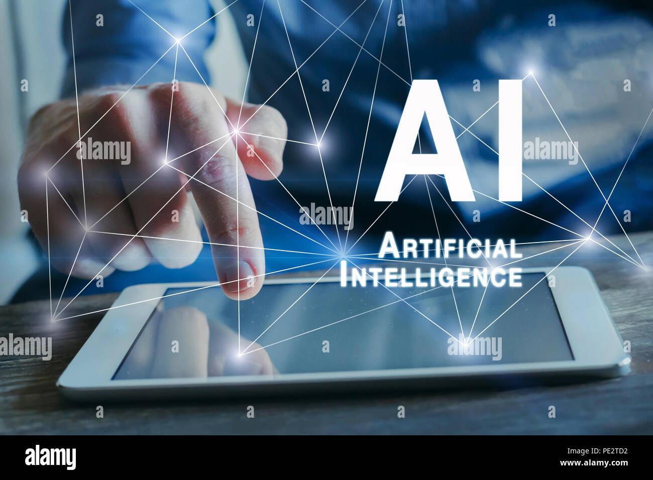 Concepto de inteligencia artificial con conexiones de red neuronal, AI Imagen De Stock