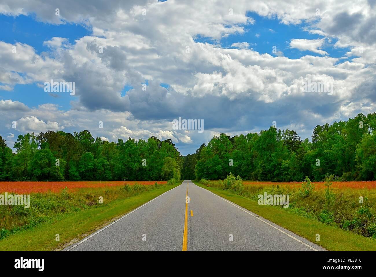 Un colorido amplio camino abierto con vistas al paisaje con un espectacular cielo nublado. Foto de stock