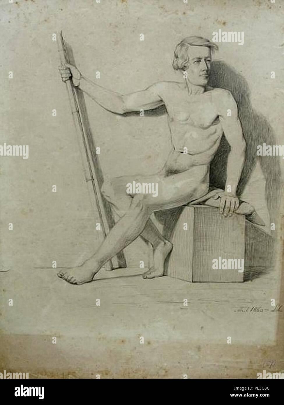 Antônio de Sousa Lobo - Nu masculino sentado. Imagen De Stock