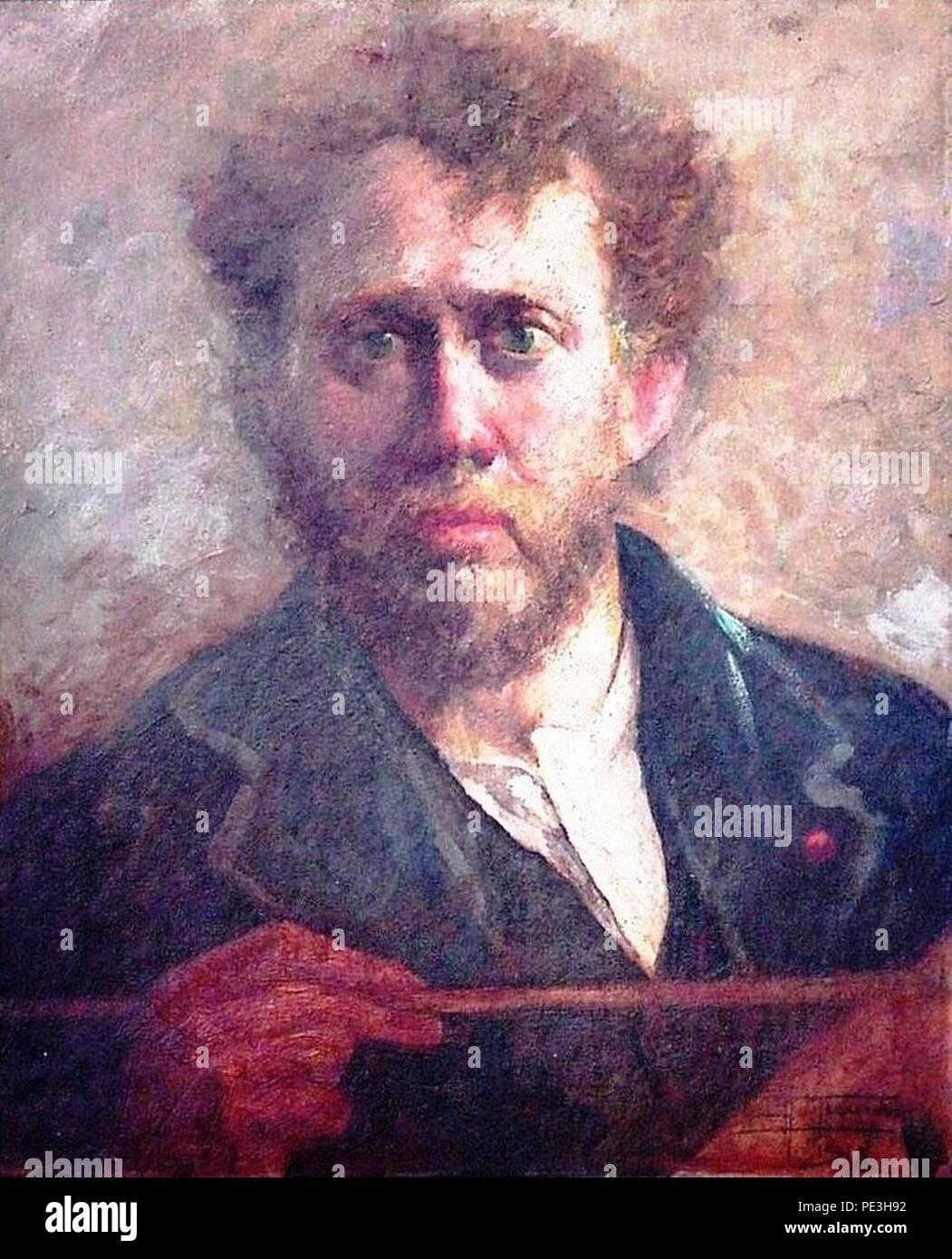 Antônio Parreiras - um colega (retrato do pintor Numa Ayrinhac Camille) de 1918. Foto de stock
