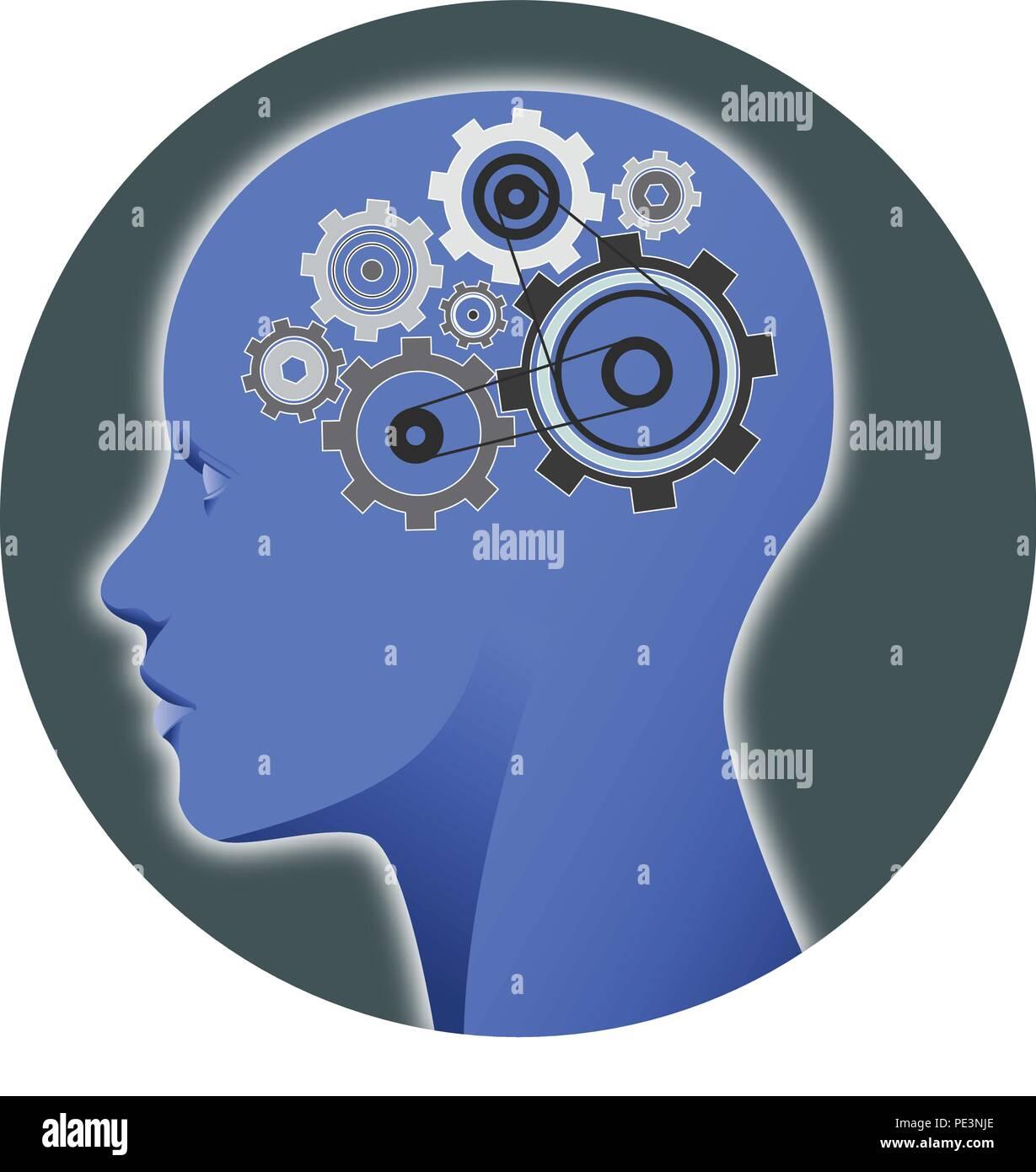Ilustración: una cabeza humana con dientes, representando los procesos mentales Imagen De Stock