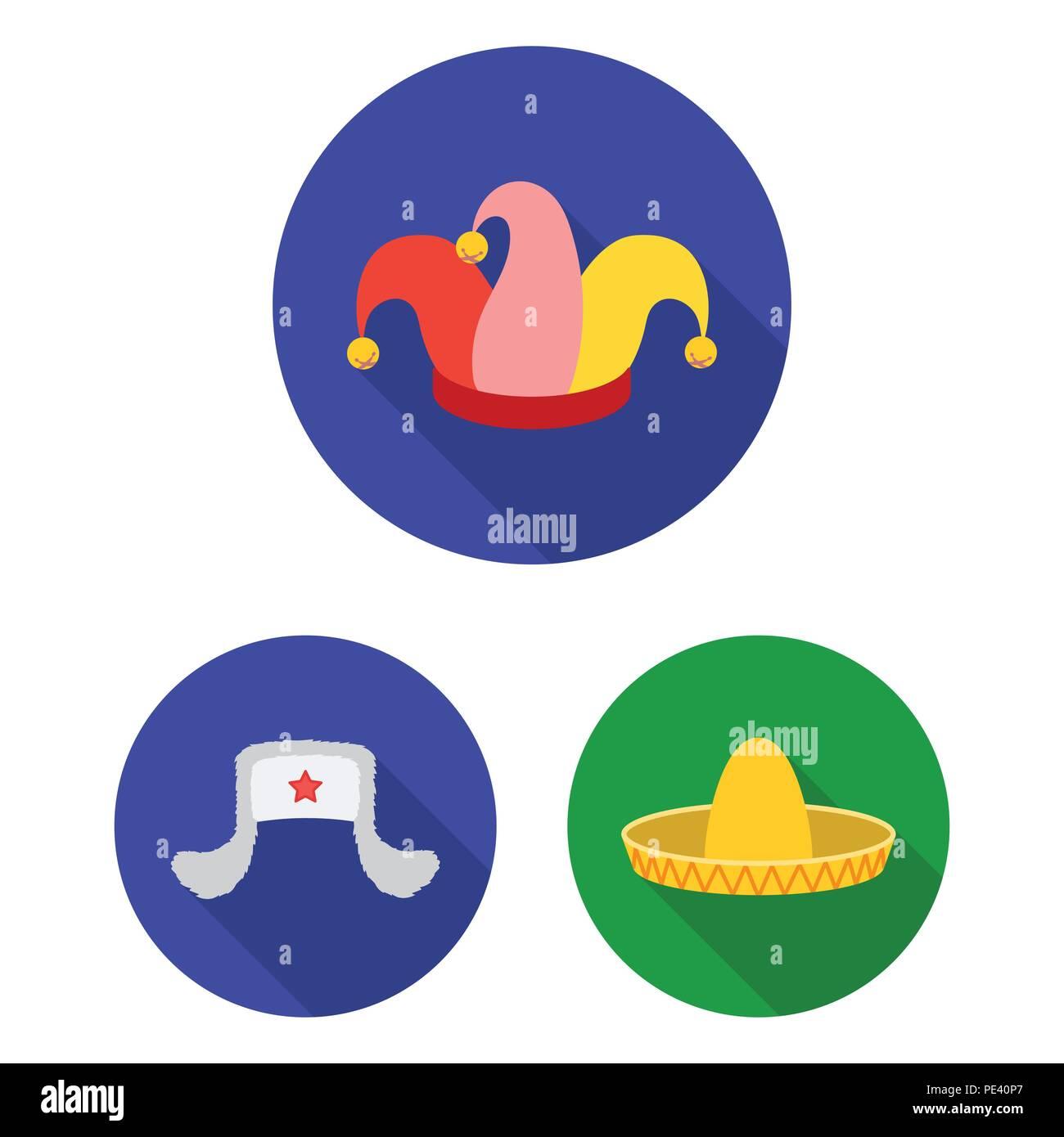 12ffa5d3f122b Los diferentes tipos de sombreros flat iconos en conjunto para diseñar.tocado  símbolo vector stock ilustración.