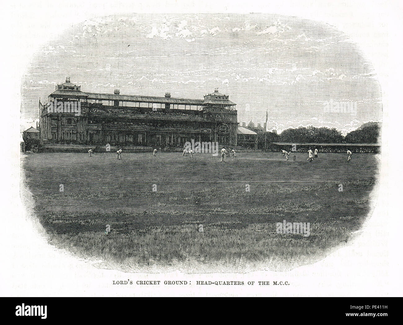 Lord's Cricket Ground, sede de la M C C vista del siglo XIX. Imagen De Stock