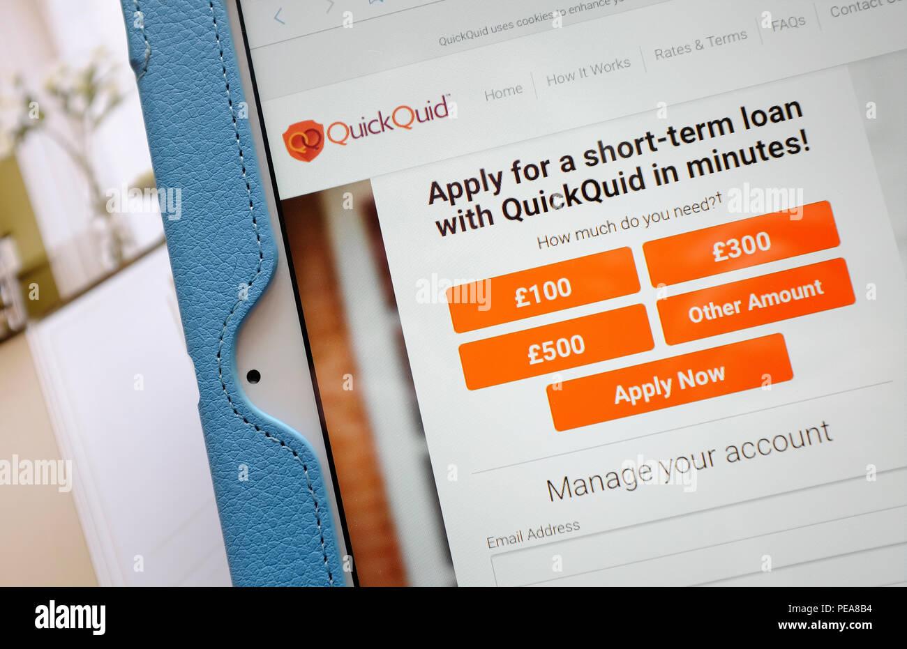 British Payday Préstamos tipo de sitio en internet Foto de stock