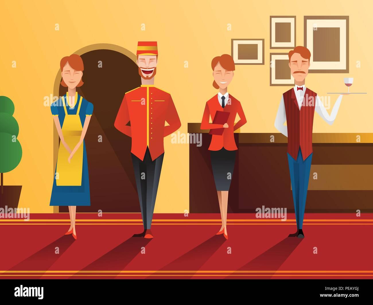 Carácter de hotel sonriente personal pendiente plana composición con la recepcionista, camarero, portero y la sirvienta ilustración vectorial Imagen De Stock
