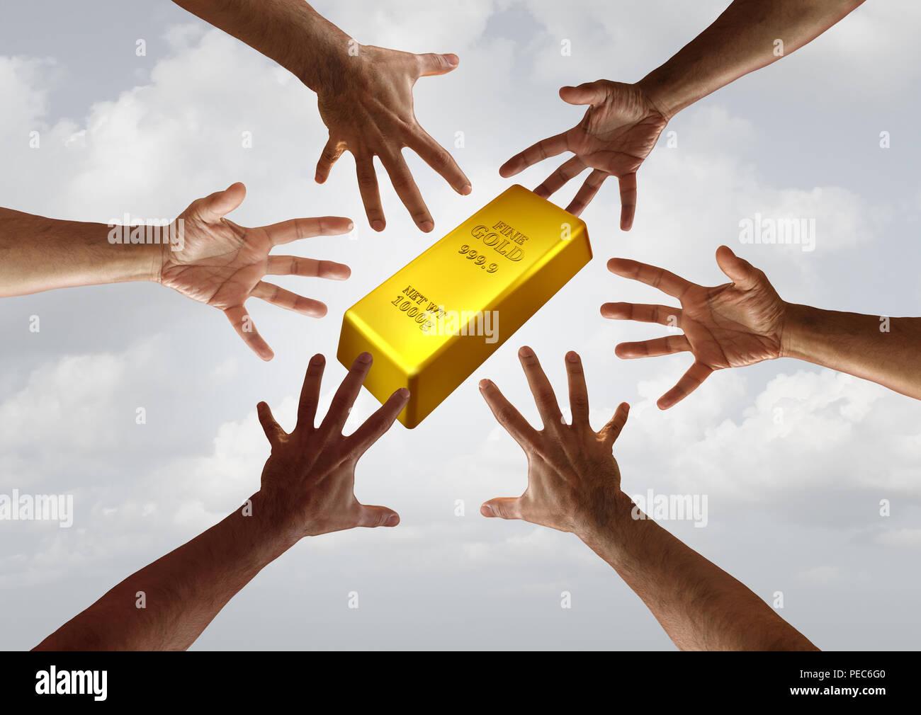 Oro y la demanda mundiales de productos financieros y de inversión comercial concepto tan diversas manos alcanzando una barra de oro. Imagen De Stock