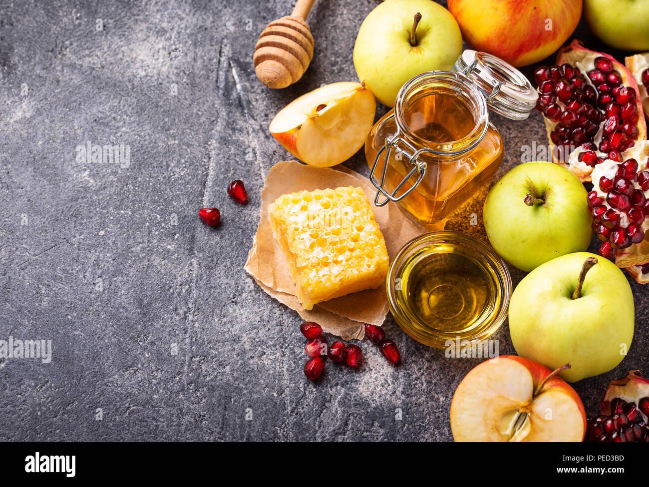 La miel, manzana y Granada para Rosh Hashaná Imagen De Stock