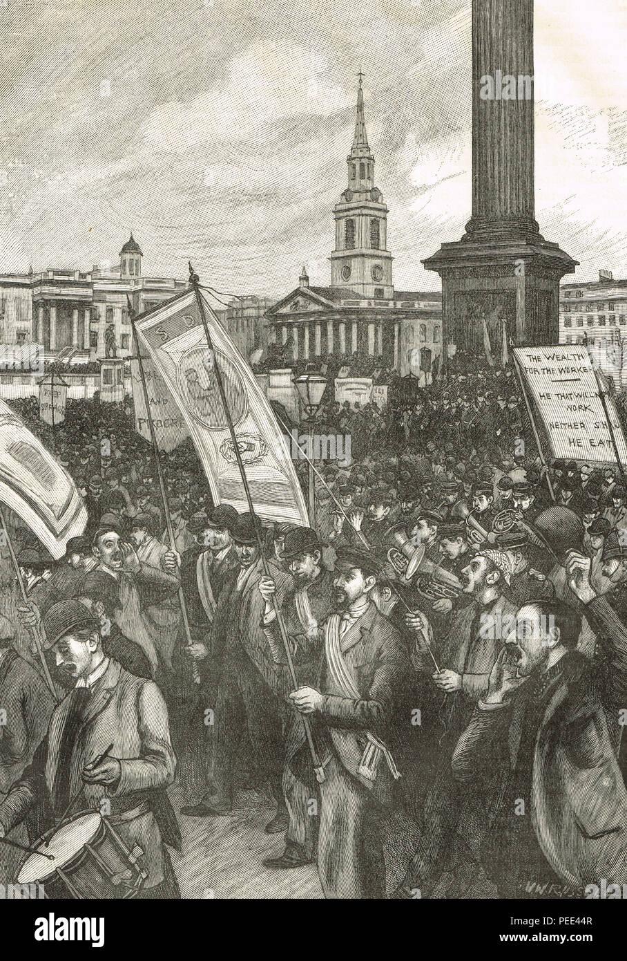"""Reunión pública en Trafalgar Square, Londres, 13 de noviembre de 1892, en conmemoración del """"domingo sangriento"""" Imagen De Stock"""