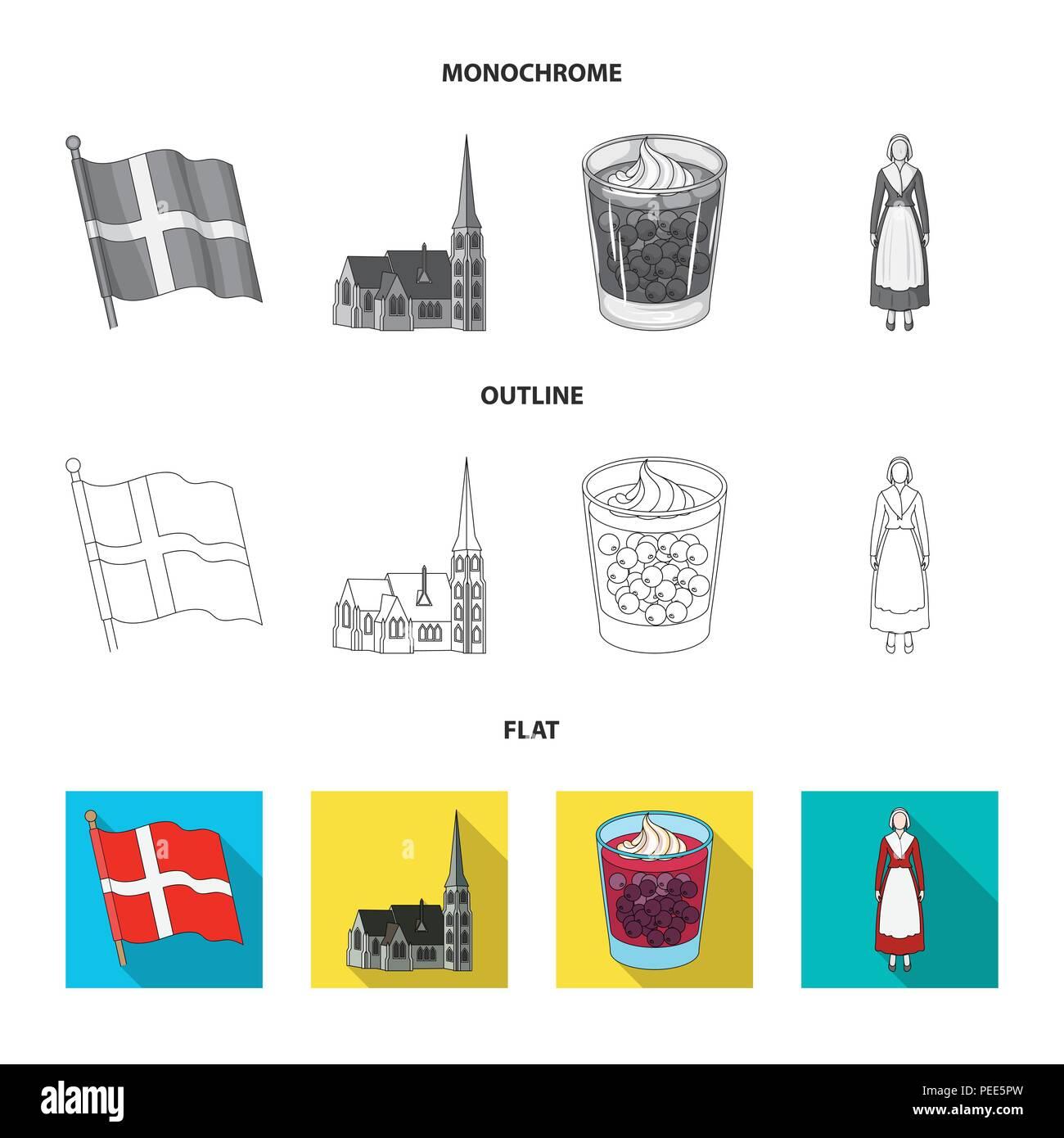 Dinamarca, historia, restaurante y otro icono en planas,esbozo,estilo monocromo.Sandwich, alimentos pan iconos en conjunto Ilustración del Vector