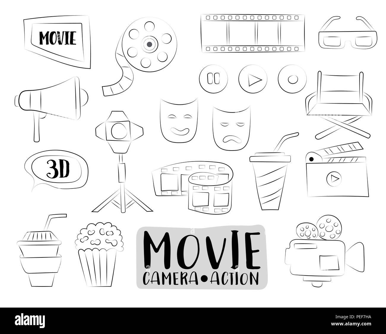 Iconos De Cine De Película Colorido Doodle Objetos Dibujados A Mano