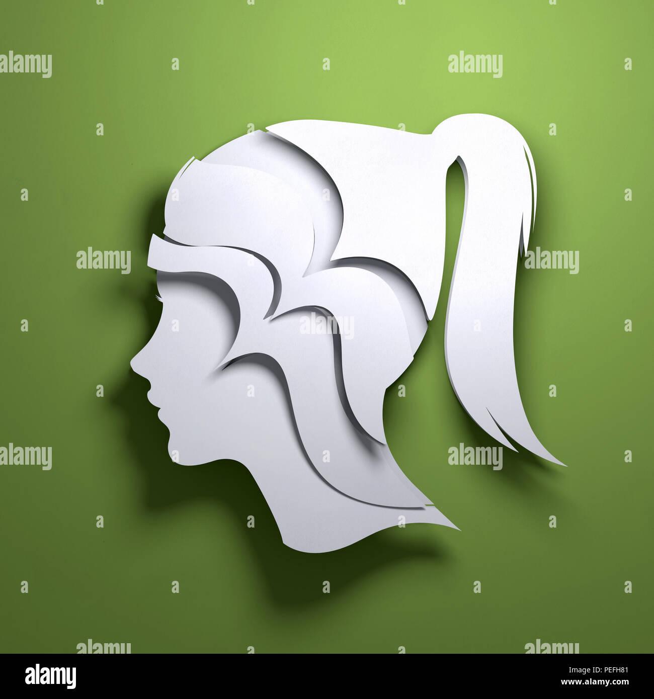 Arte en papel plegado origami. La silueta de una persona en la cabeza. Mindfulness conceptual ilustración 3D. Imagen De Stock