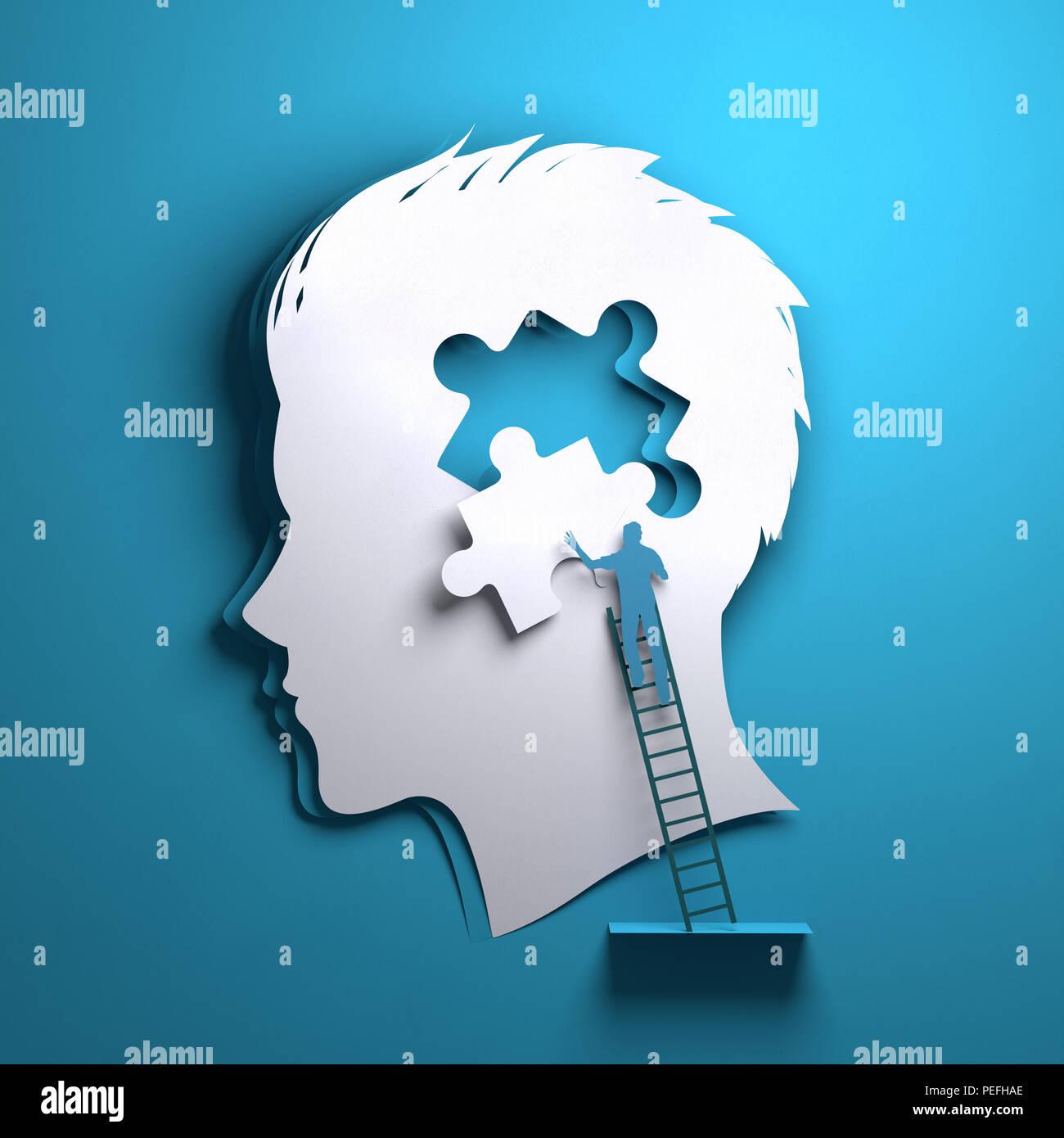 Arte en papel plegado origami. La silueta de un hombre con la cabeza de una persona agregando una pieza del puzzle. Mindfulness conceptual ilustración 3D. Imagen De Stock