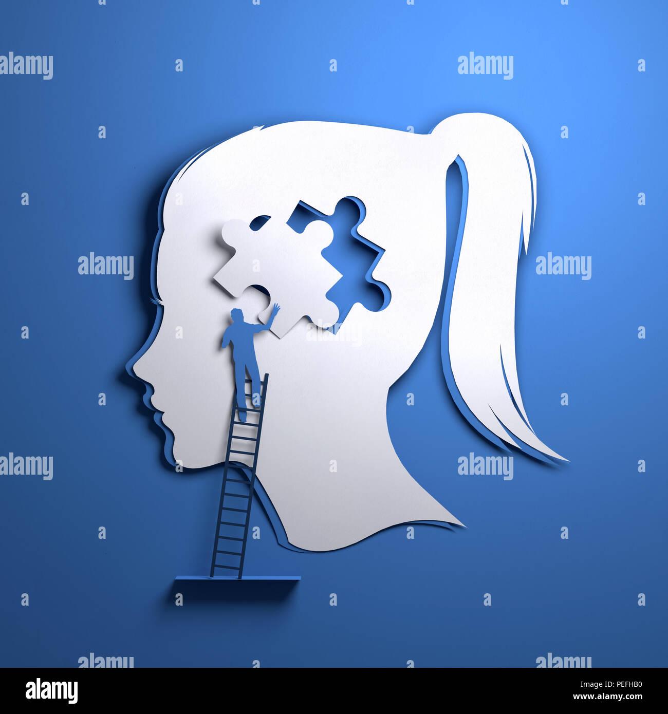 Arte en papel plegado origami. La silueta de una cabeza de mujer con una persona agregando una pieza del puzzle. Mindfulness conceptual ilustración 3D. Imagen De Stock