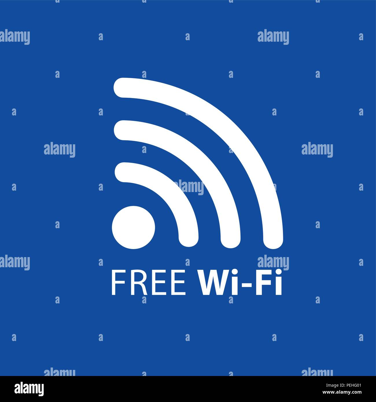 Conexión inalámbrica a internet gratuita símbolo azul ilustración vectorial EPS10 Imagen De Stock