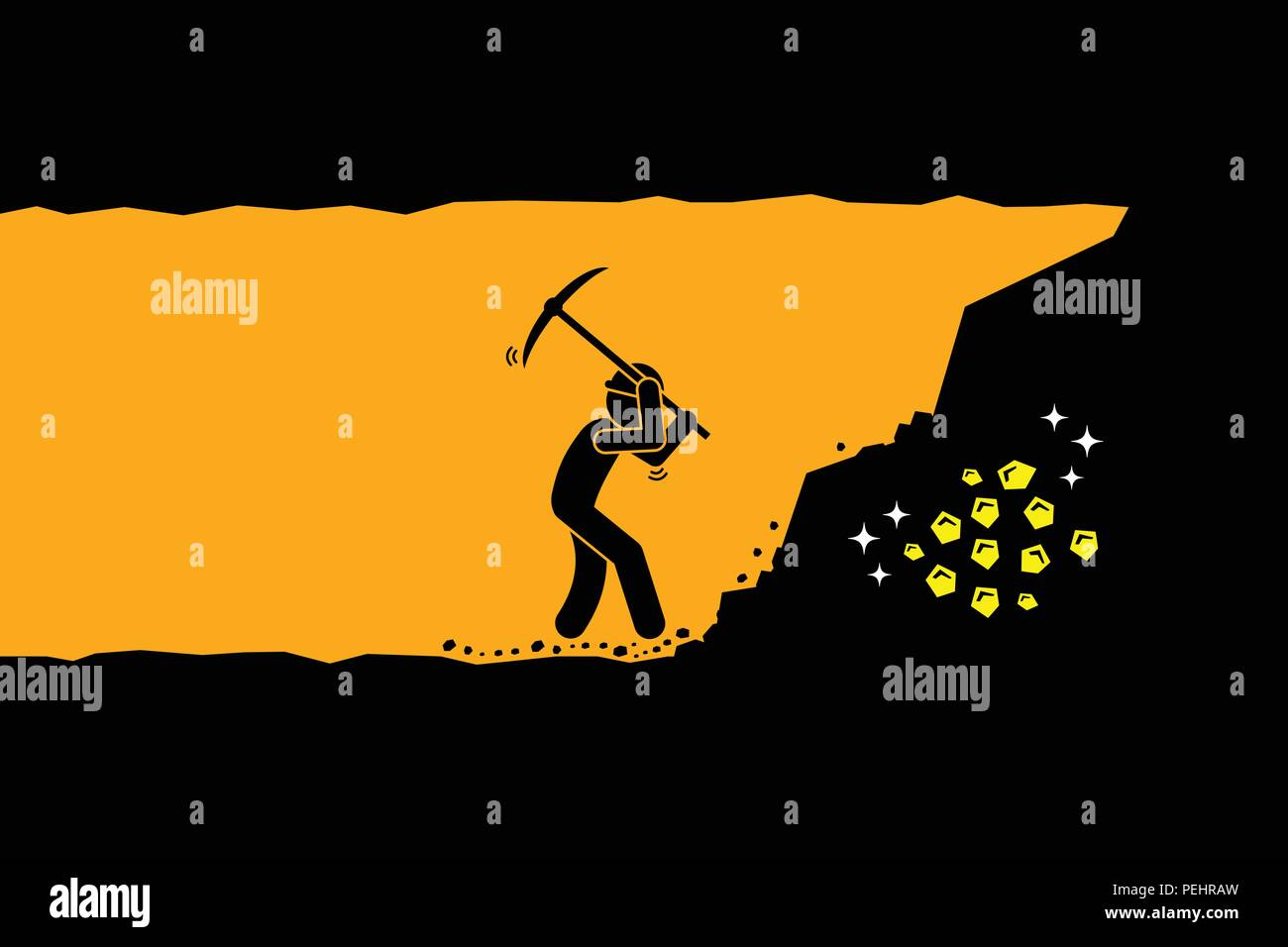 Ilustración vectorial representa el trabajo duro, éxito, logros y descubrimientos. Imagen De Stock