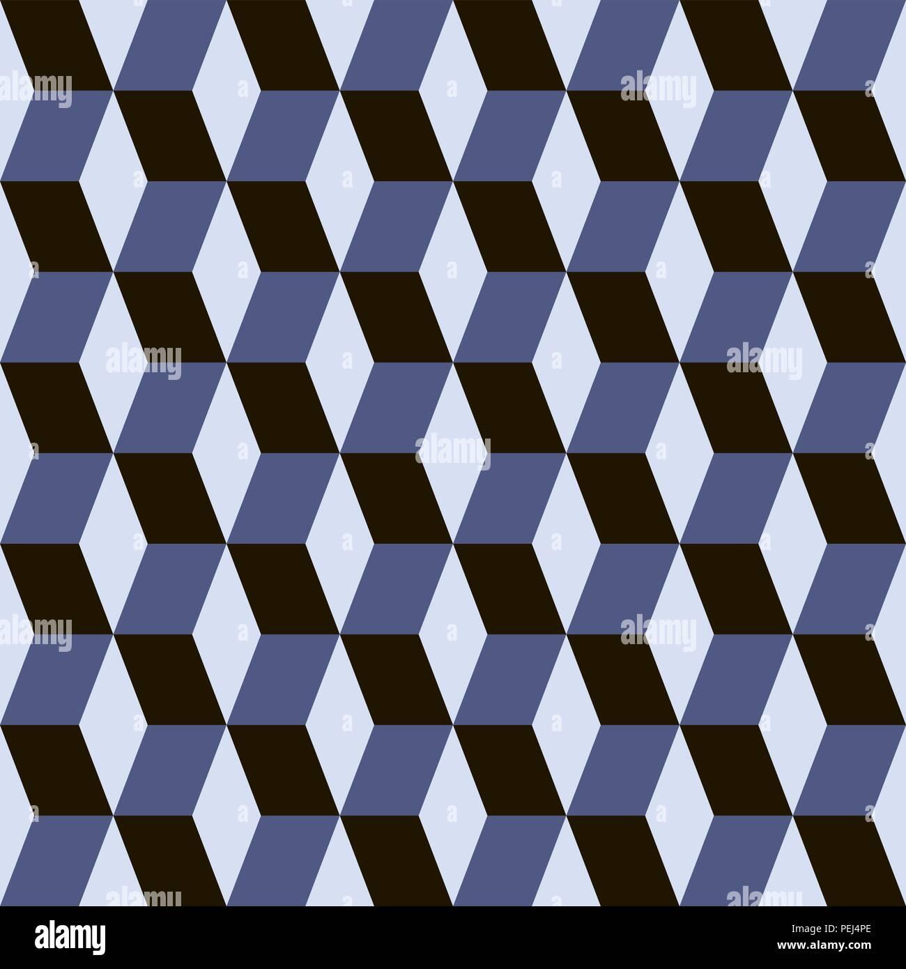 Bloques abstractos ilusión visual perfecta modelo azul de contraste Imagen De Stock