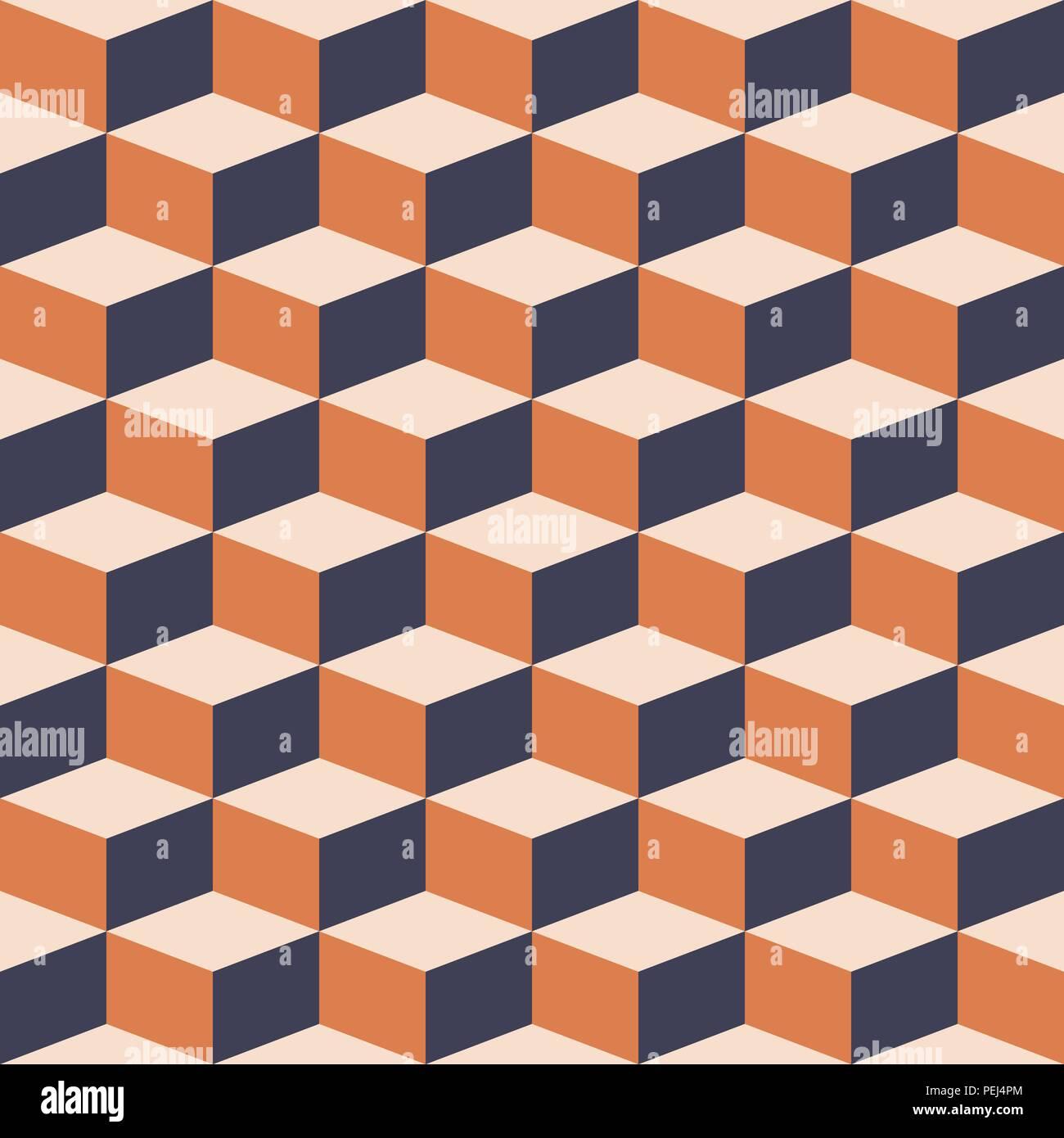 Bloques abstractos ilusión visual perfecto contraste patrón gris y naranja Imagen De Stock