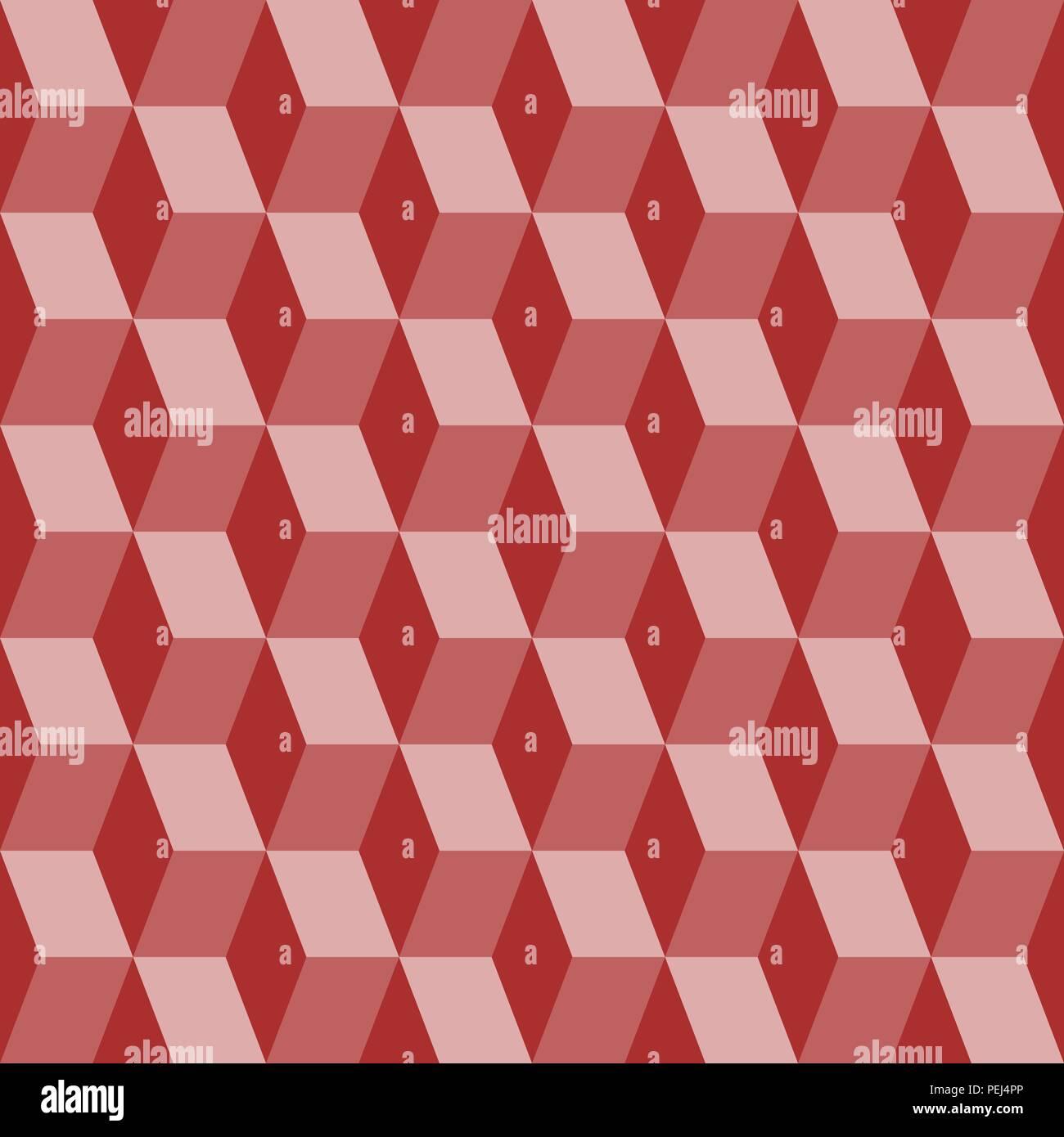 Bloques abstractos ilusión visual perfecto contraste patrón rojo Imagen De Stock