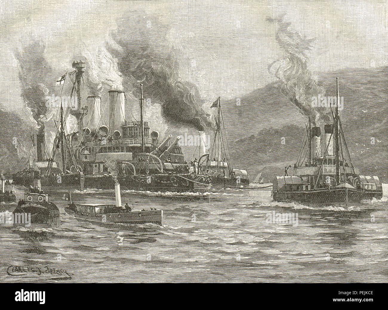 Remolque de HMS Howe en Ferrol, Puerto España, liberado por el HMS Caballito de mar 30 de marzo de 1893 Foto de stock