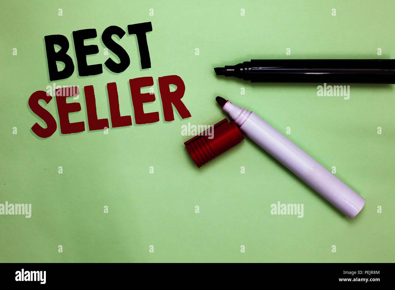 Signo de texto mostrando mejor vendedor. Libro fotográfico conceptual u otro producto que vende en números muy grandes marcadores de abierta inspiración comunicar ideas de mí Foto de stock