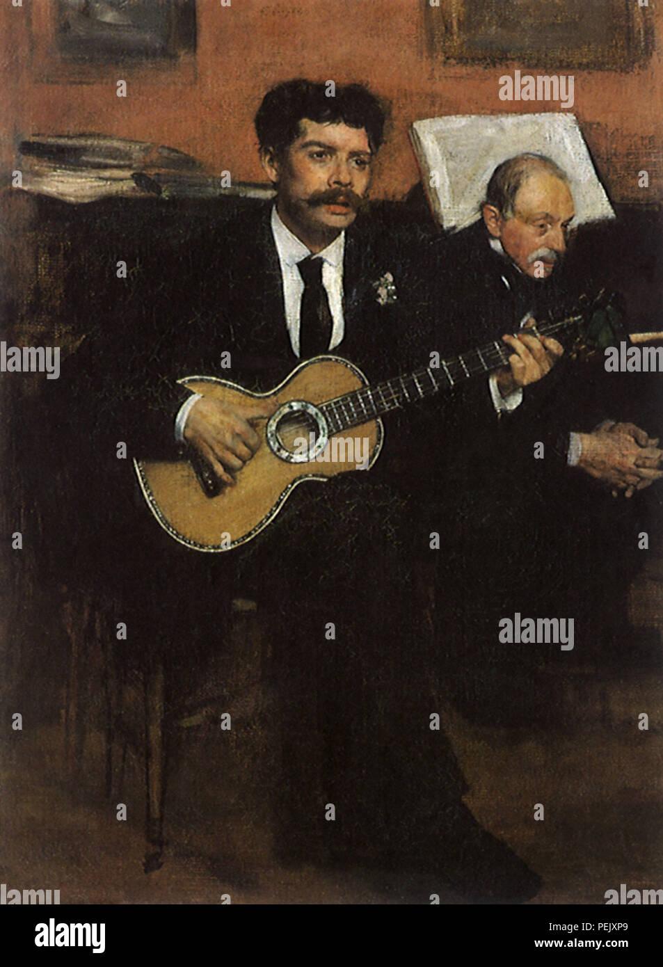 Dos músicos, Degas, Edgar Foto de stock