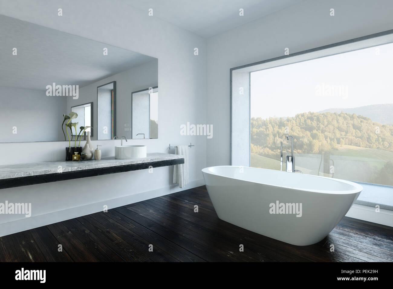 Cuarto de baño moderno con bañera blanca por un gran espejo sobre la ...