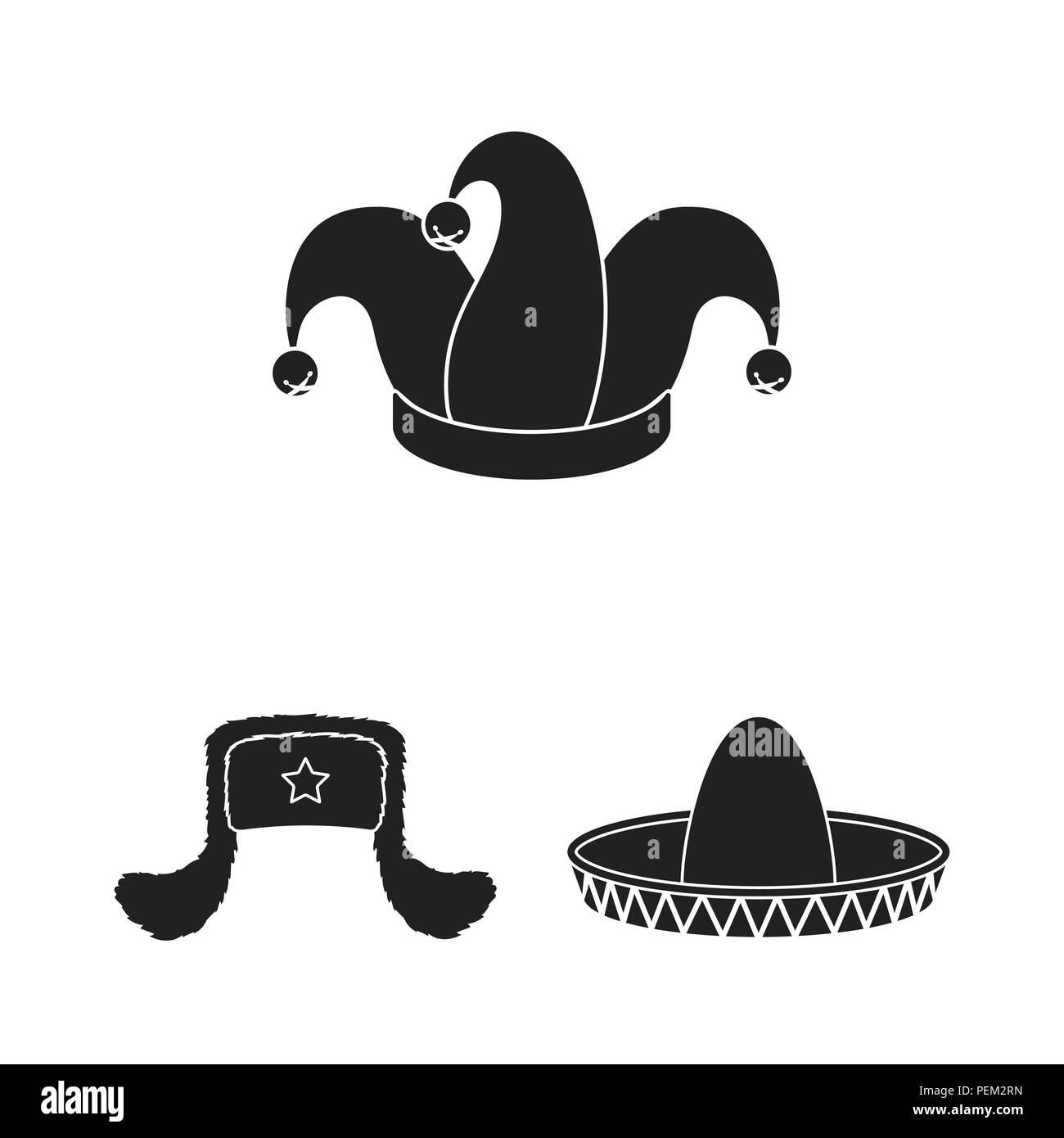 8b8ece11c04e9 Los diferentes tipos de sombreros iconos negros en conjunto para diseñar.tocado  símbolo vector stock ilustración.