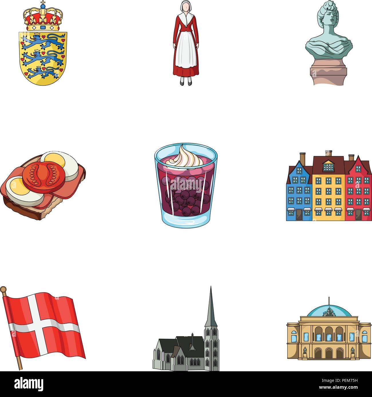 Corona, símbolo nacional, y otro icono en el estilo de dibujos animados.Dinamarca, turismo, restaurante iconos en conjunto. Ilustración del Vector