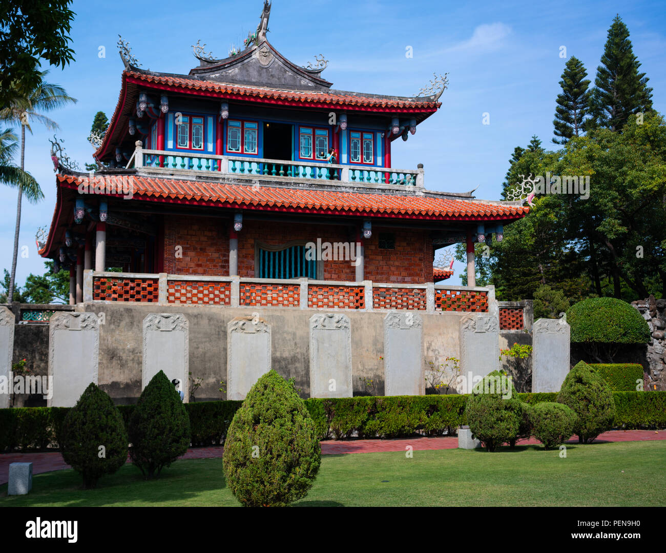 Vista de la vieja torre Chihkan Landmark at Fort provincia en Tainan Taiwán Imagen De Stock