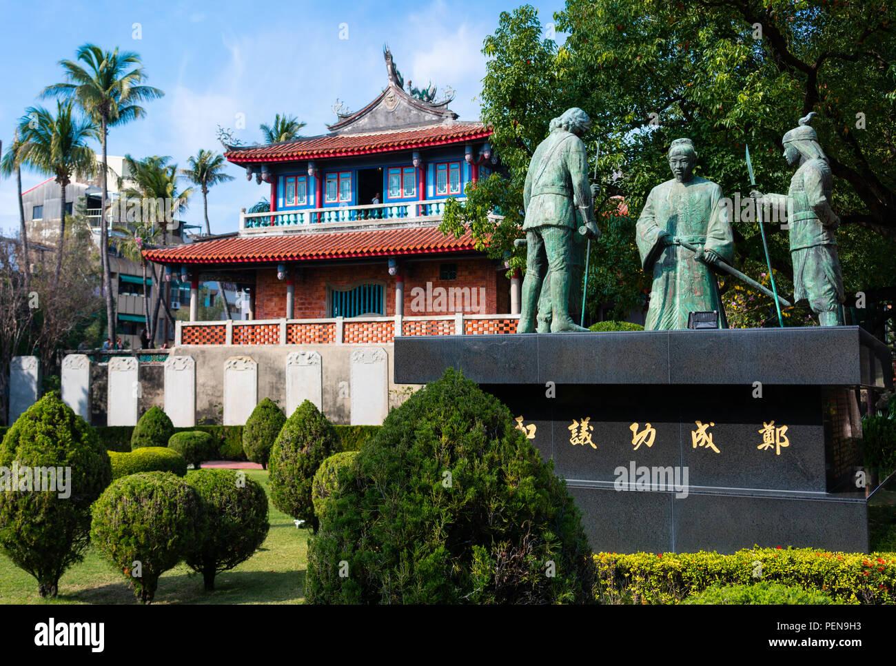 Vista de la vieja torre Chihkan y estatua en Fort provincia en Tainan Taiwán Imagen De Stock