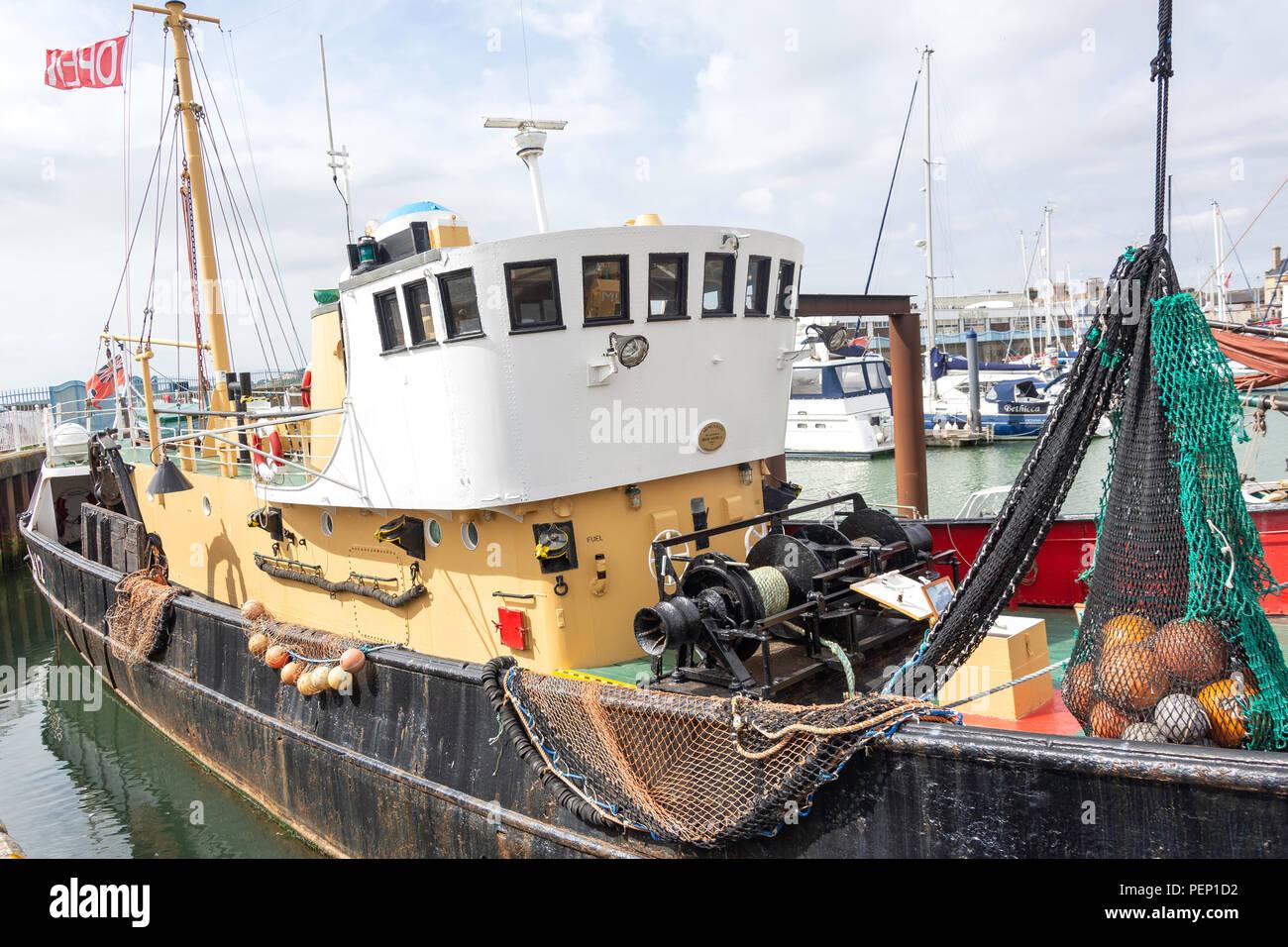 Mincarlo LT412 sidewinder de la pesca de arrastre, Lowestoft históricos barcos amarres, Marina, en Lowestoft Lowestoft, Suffolk, England, Reino Unido Foto de stock