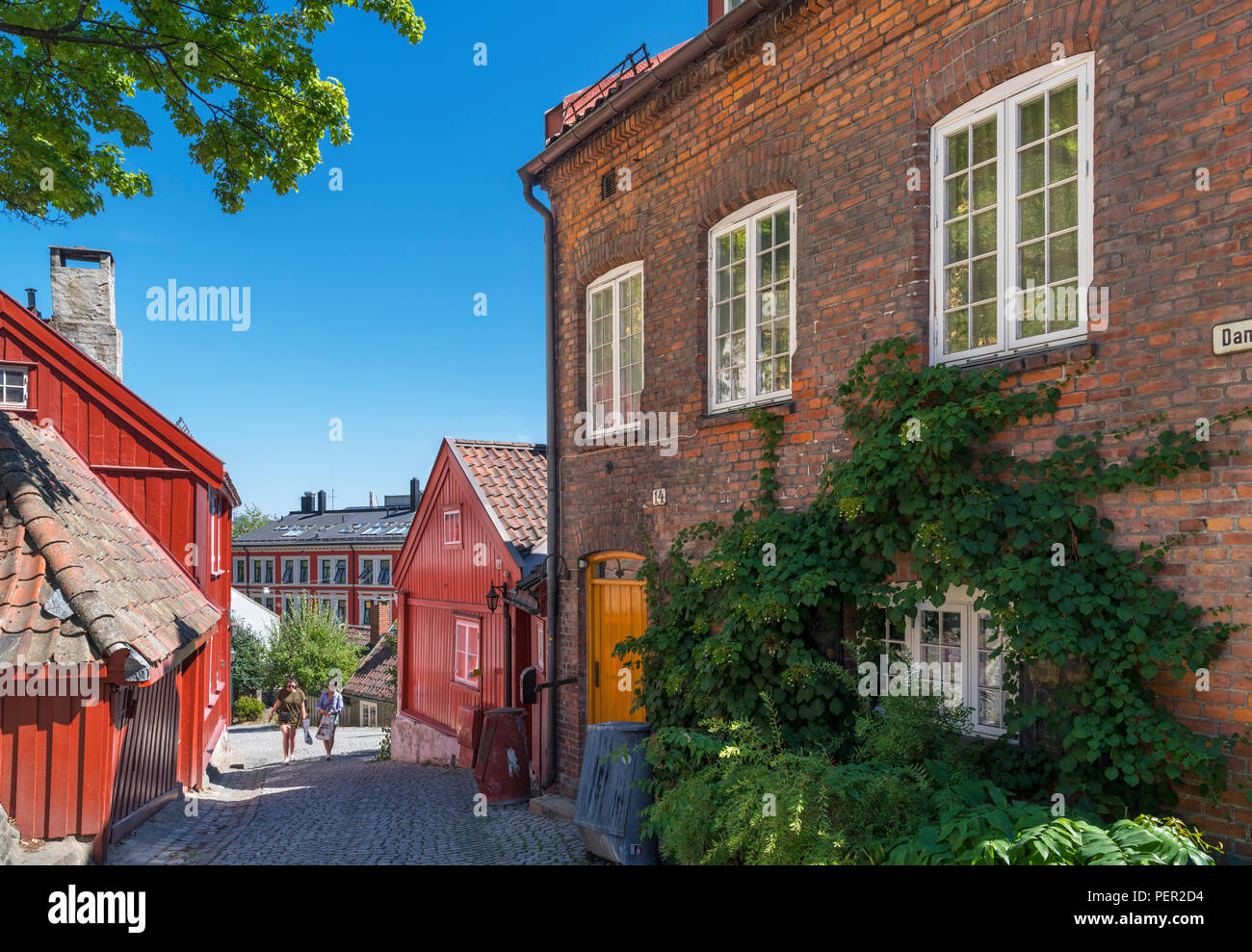 Las casas tradicionales de Damstredet, Oslo, Noruega Imagen De Stock