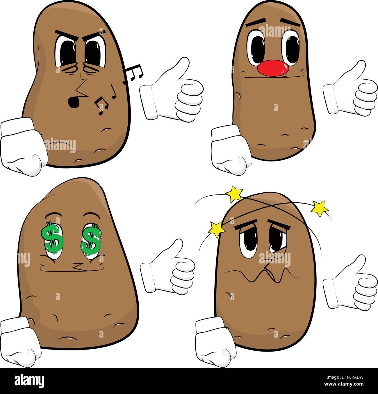Patatas Haciendo Thumbs Up Sign Dibujos Animados Colección De