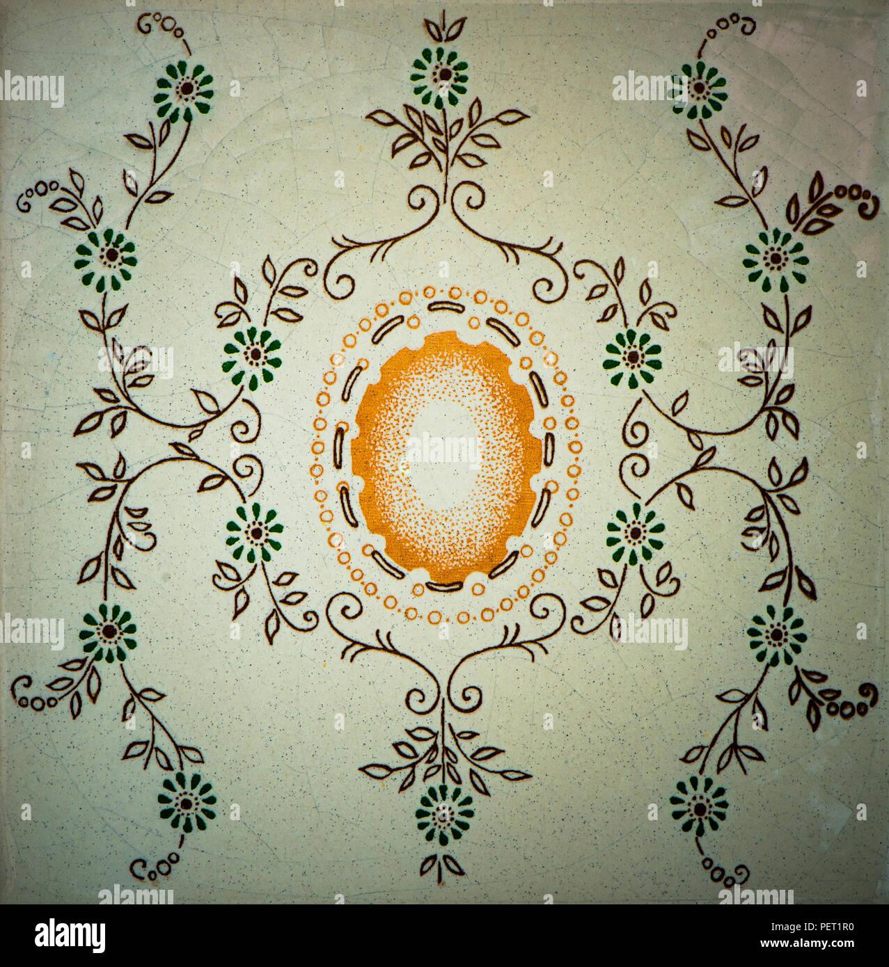 Dibujado a mano en el diseño de baldosas cerámicas por viejo autor desconocido (50-60). Imagen De Stock