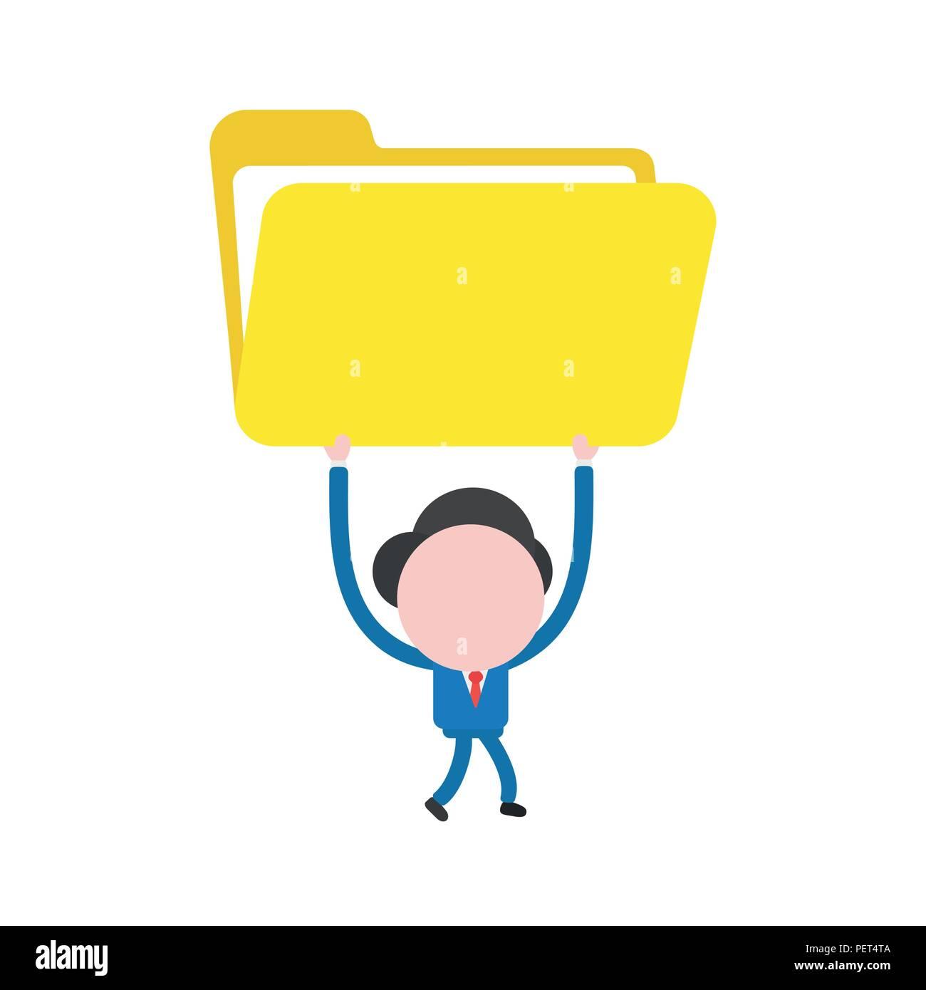 Ilustración vectorial empresario mascota personaje caminando y sosteniendo  a abrir una carpeta de archivos. Imagen 7a5dd140921