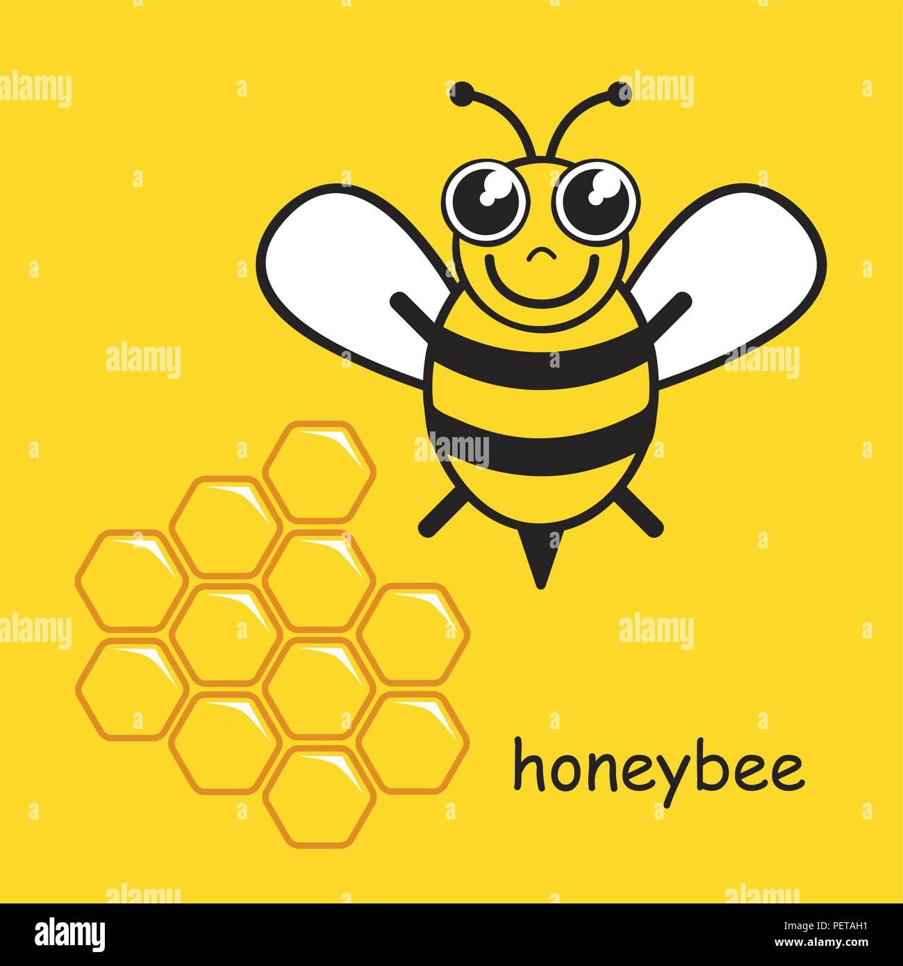 Poco feliz estilizados honeybee ilustración vectorial EPS10 Imagen De Stock