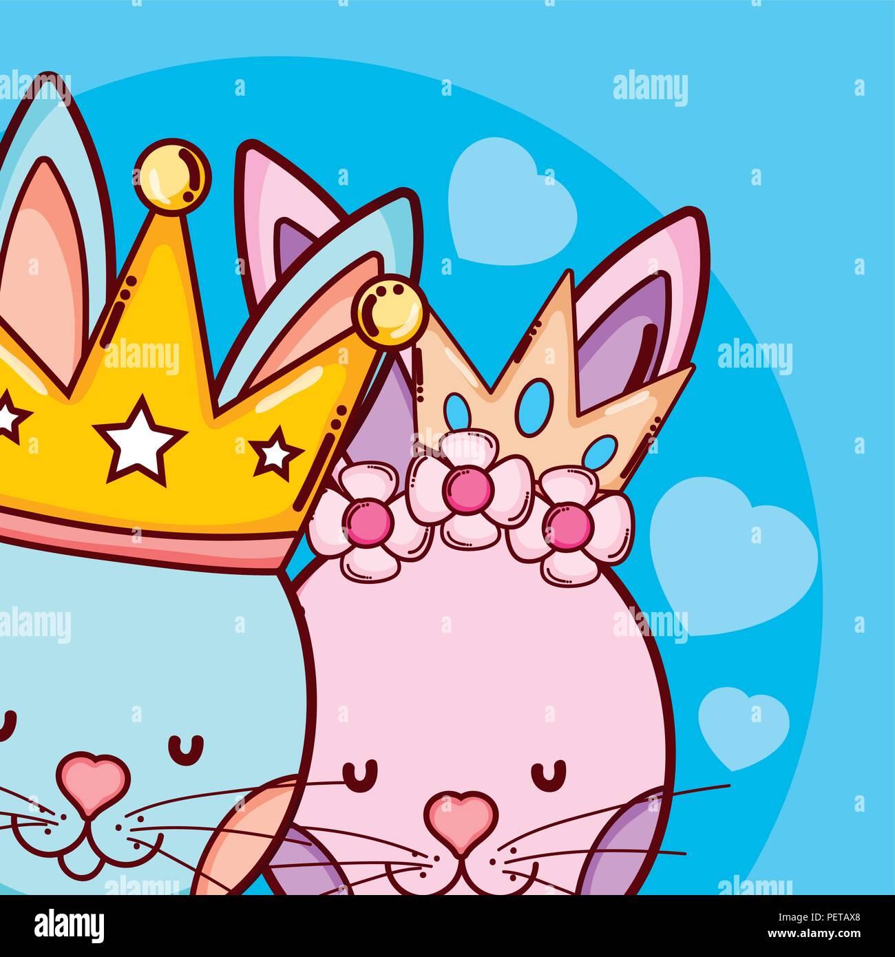 El Rey Y La Reina Animales Cute Dibujos Animados Ilustración Del