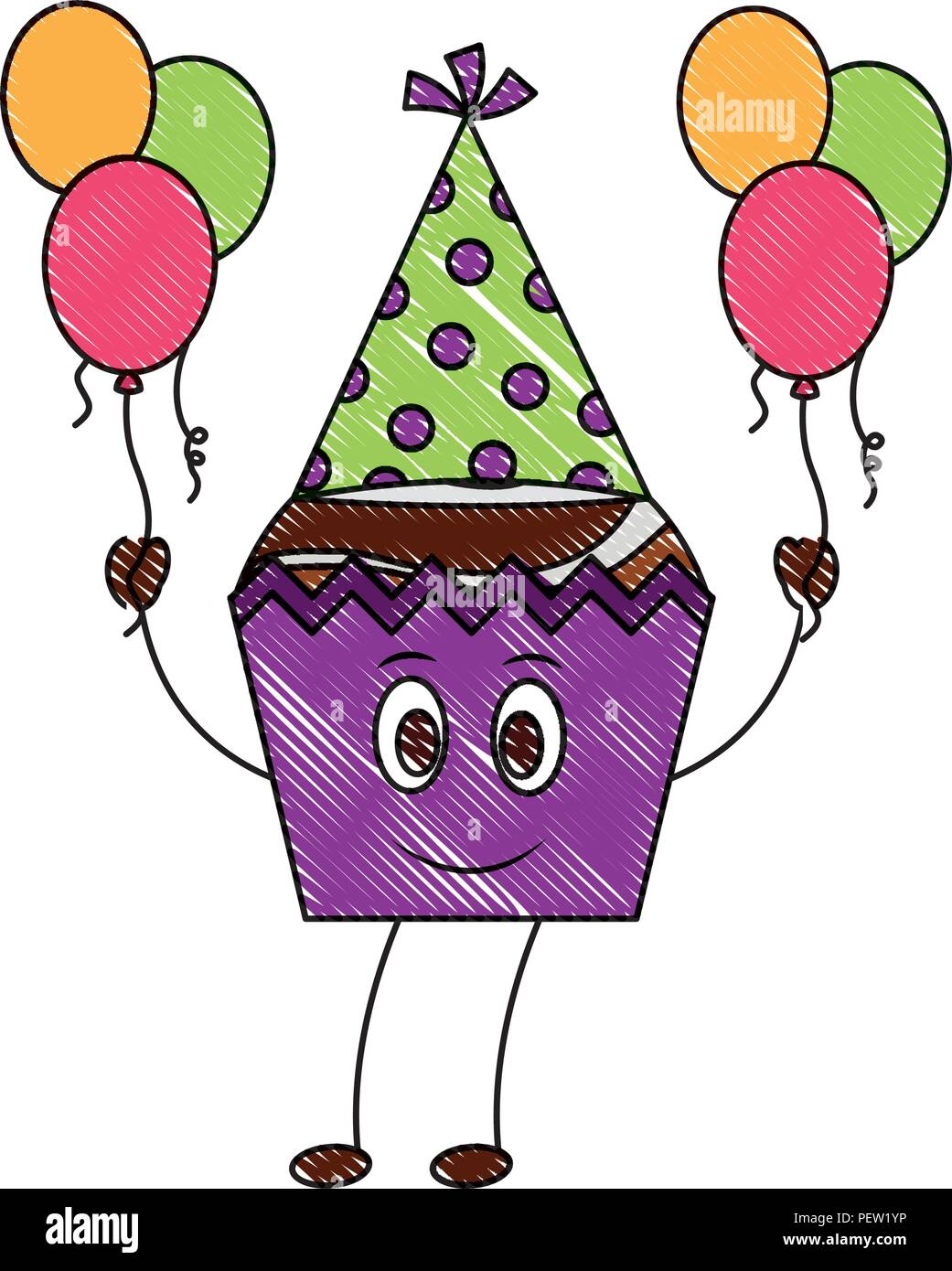 Sweet cupcake con sombrero parte y globos de helio personaje kawaii Imagen  De Stock 3cc10bc9f1a