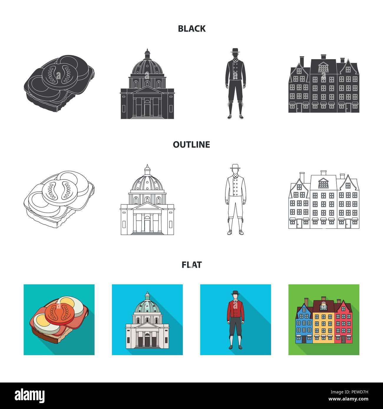Dinamarca, historia, restaurante y otro icono en negro,planas,el estilo de esquema.Sandwich, alimentos pan iconos en conjunto Ilustración del Vector