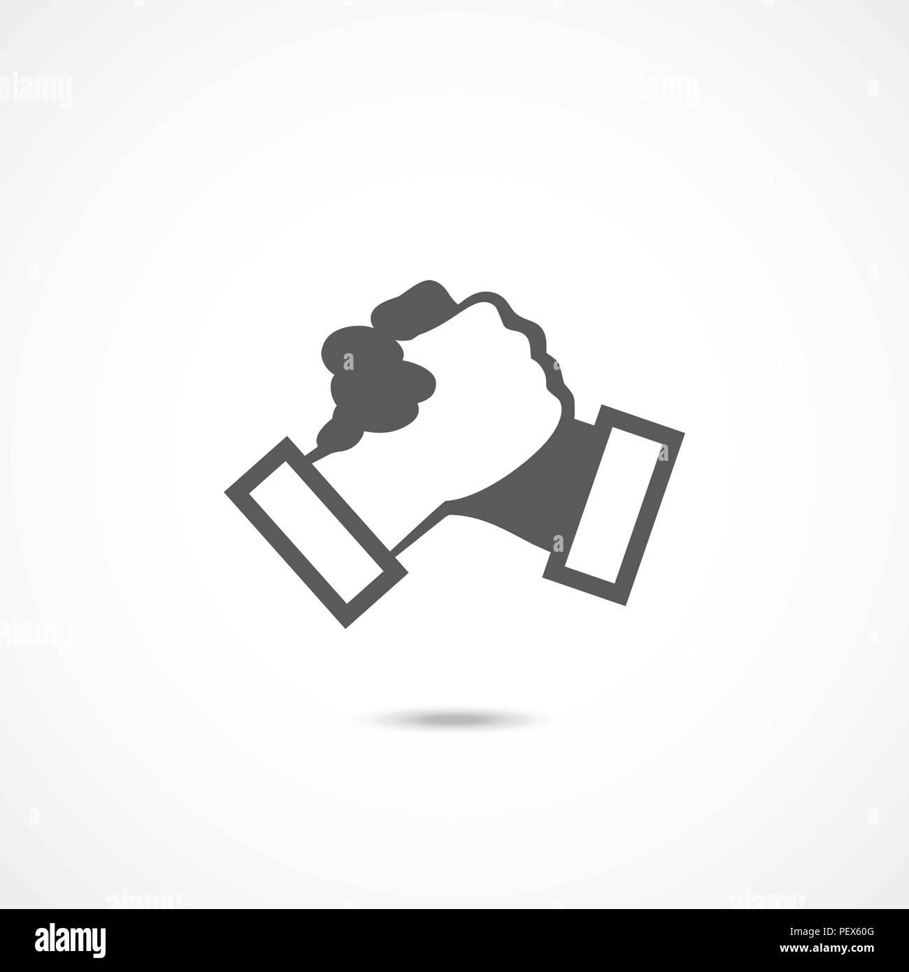 Icono de apretón de manos en blanco Imagen De Stock