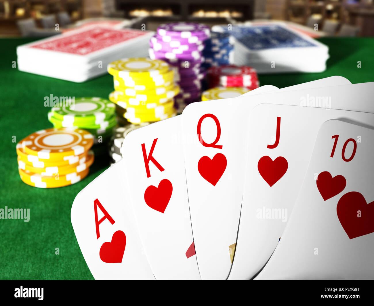 Escalera real la mano de poker y casino manos de pie sobre la mesa de póquer. Ilustración 3D. Imagen De Stock