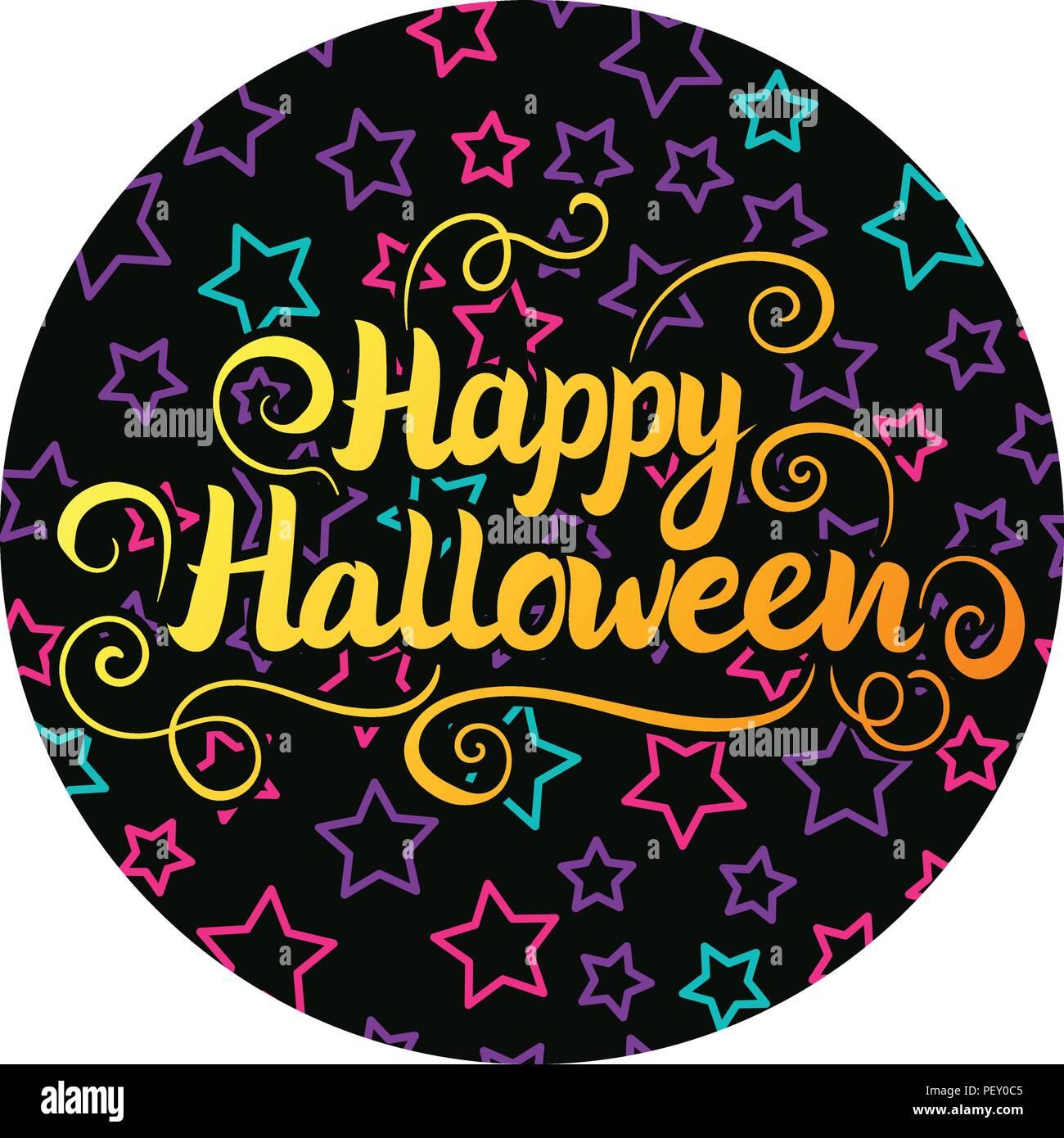 Feliz Halloween letras. Ilustración vectorial en la pegatina redonda de fondo negro con niños estrella. Ilustración del Vector