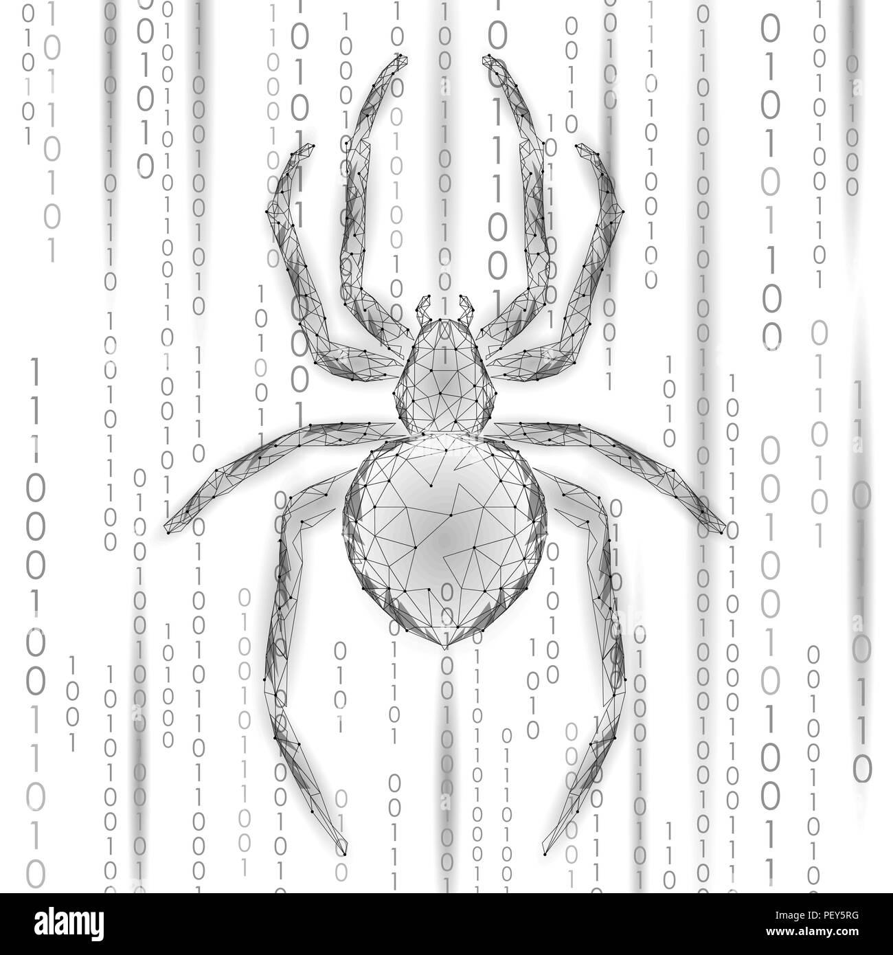 Poli bajo ataque hacker araña peligro. Seguridad de los datos de seguridad antivirus Web concepto de antivirus. Concepto de negocio moderno diseño poligonal. La delincuencia cibernética web bug insectos tecnología ilustración vectorial Imagen De Stock