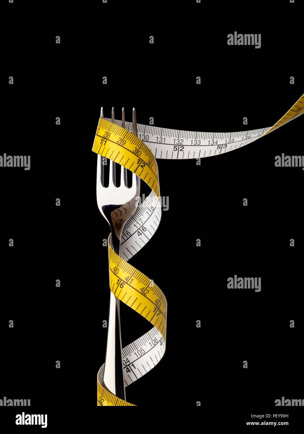 Horquilla con cinta métrica. Imagen De Stock