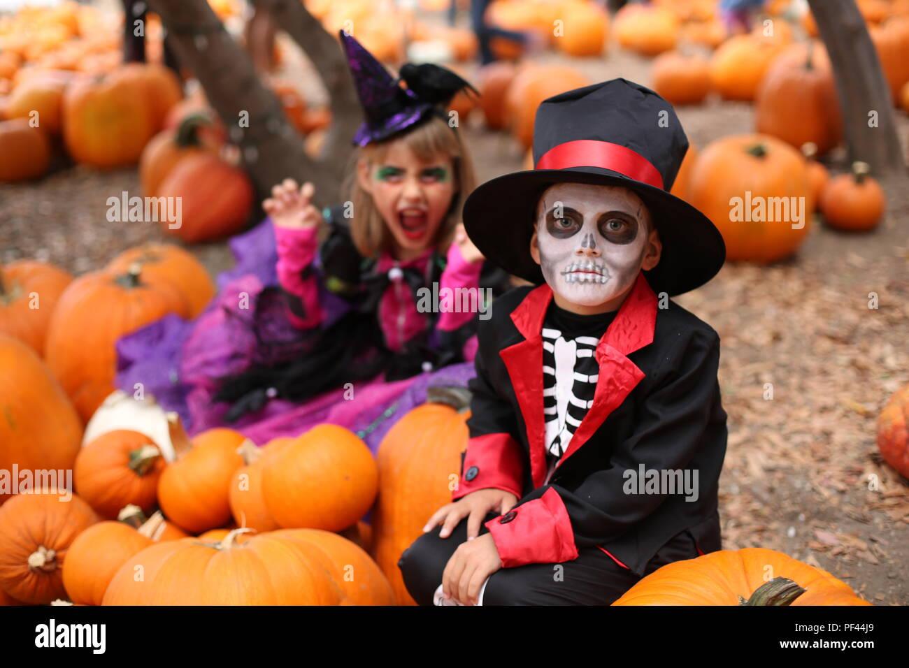 Halloween Niños, Trick-or-Treat. Los niños viste trajes de esqueleto y Bruja de Halloween o truco parte Imagen De Stock