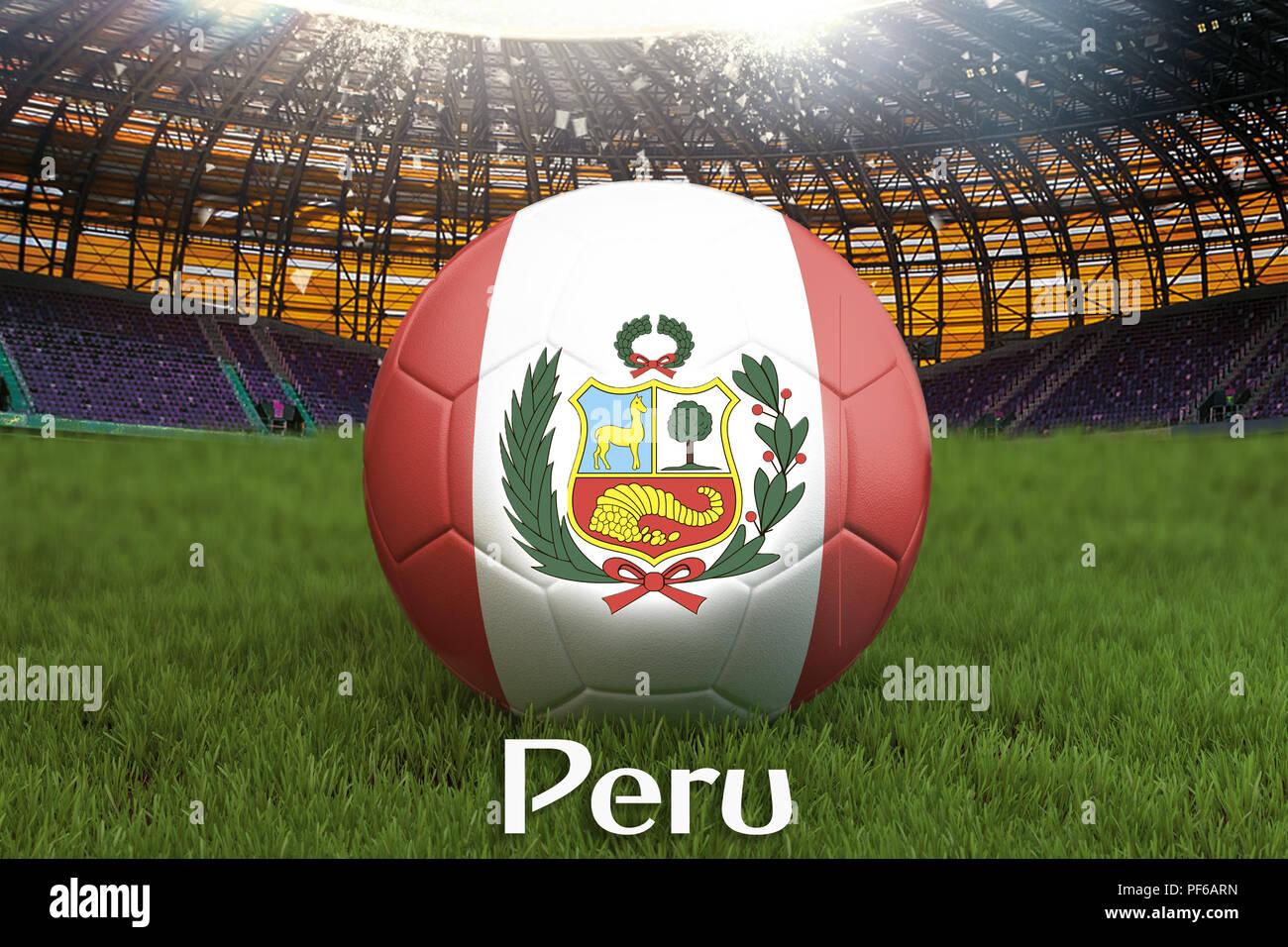 Perú fútbol balón de fútbol en el estadio de gran fondo. Perú Team  competencia concepto f496760b7964d