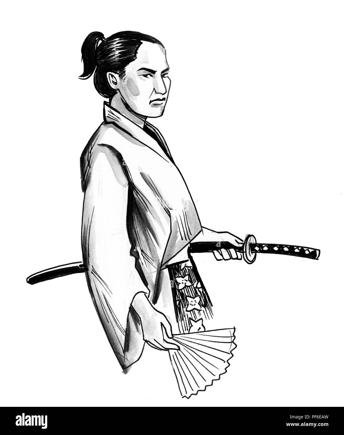 Guerrero Samurai Con Una Espada Dibujo En Blanco Y Negro De Tinta Fotografia De Stock Alamy
