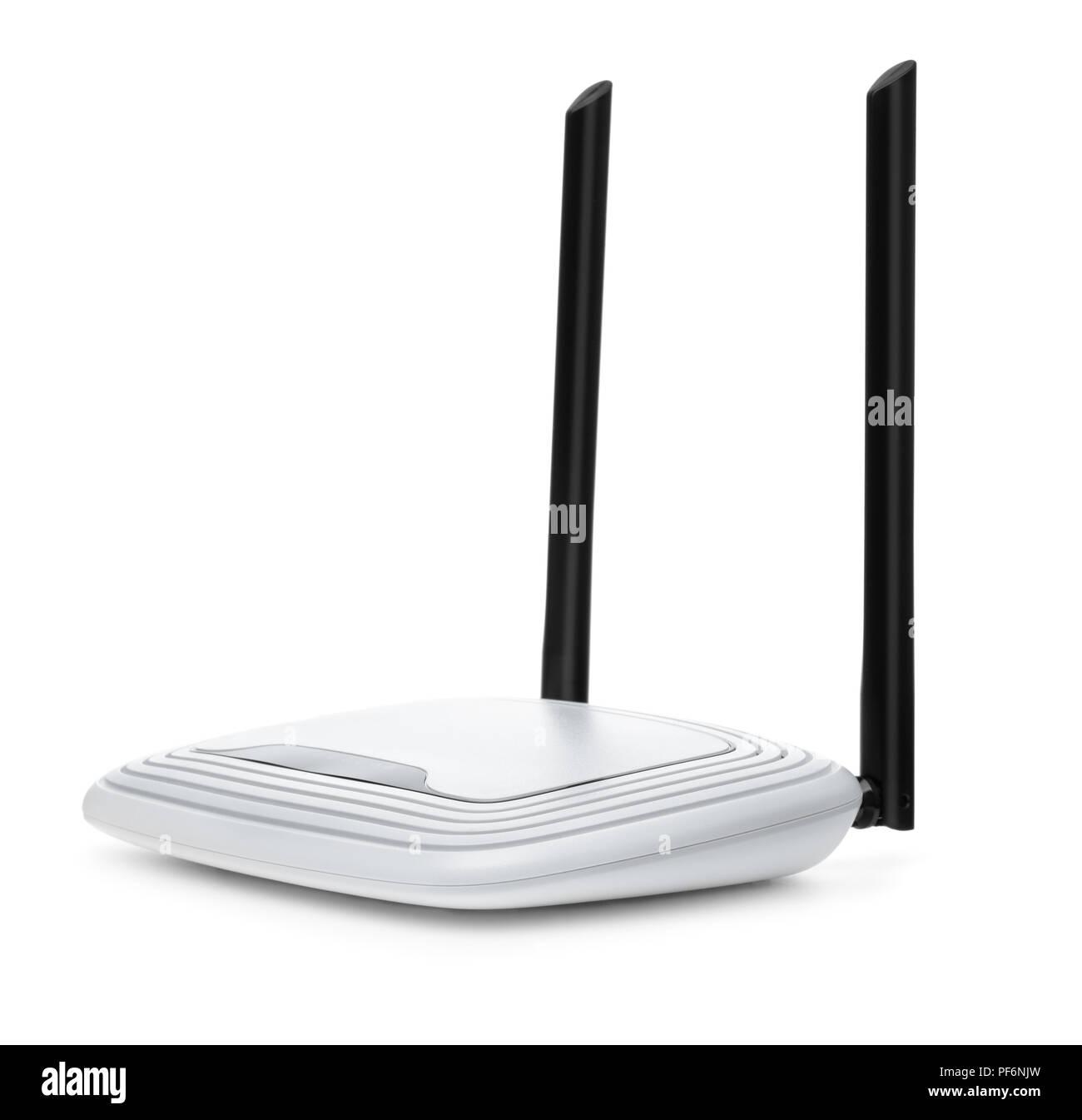 Router wi-fi inalámbrico aislado en blanco Imagen De Stock