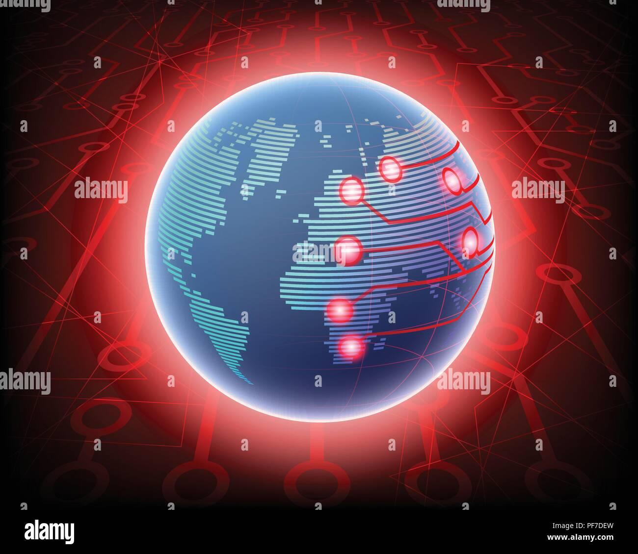 Acceso inalámbrico a internet en todo el mundo global cyber ataque cibernético por concepto hacker fondo. ilustración vectorial EPS10 Imagen De Stock